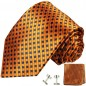Preview: Orange mens tie polka dots necktie - silk tie and pocket square and cufflinks