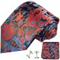 Preview: black red mens tie paisley necktie - silk tie and pocket square and cufflinks
