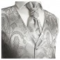 Preview: WEDDING VEST SET silver and Shirt Slim Fit white V3HL81