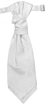 Wedding cravat white paisley ascot tie