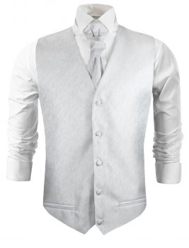 White silver floral wedding vest waistcoat with cravat