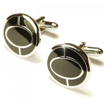 Black silver cufflinks by Paul Malone Ma32