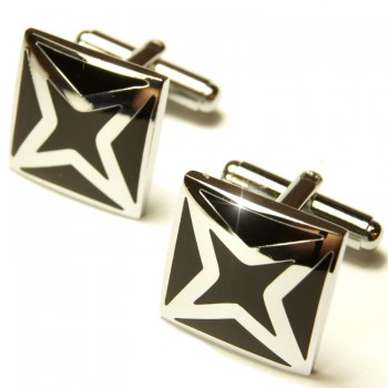 Silver black cufflinks by Paul Malone Ma37