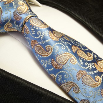 Light blue gold mens tie 100% silk necktie paisley 351