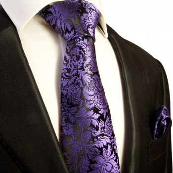 Black purple Necktie Set 2pcs. Mens Tie 100% Silk + Hanky 353
