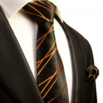 Black orange Necktie Set 2pcs. Mens Tie 100% Silk + Hanky 359