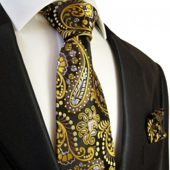 Black yellow paisley Necktie Set 2pcs. 100% Silk + Hanky 550