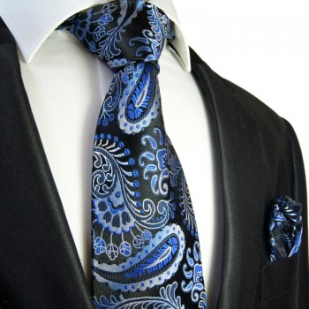 Black blue paisley Necktie Set 2pcs. 100% Silk + Hanky 551