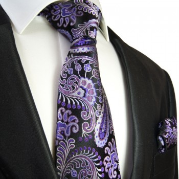 Black purple paisley Necktie Set 2pcs. 100% Silk + Hanky 552
