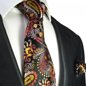 Black red paisley Necktie Set 2pcs. 100% Silk + Hanky 553