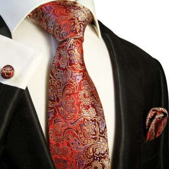 red paisley necktie set 3pcs