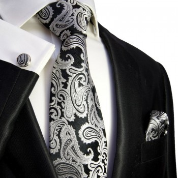 Black paisley necktie set 3pcs 100% silk tie + handkerchief + cufflinks 352