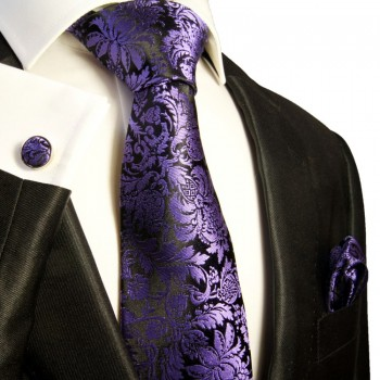 Black purple paisley necktie set 3pcs 100% silk tie + handkerchief + cufflinks 353