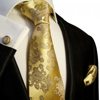 gold paisley necktie set 3pcs