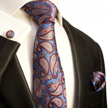 blue paisley necktie set 3pcs
