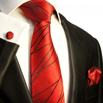 Red necktie set 3pcs 100% silk tie + handkerchief + cufflinks 374