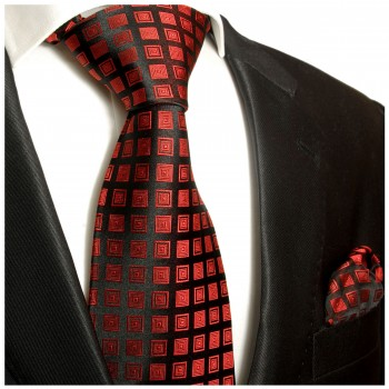 Necktie Set 2pcs. Red Black Checked 100% Silk Mens Tie + Handkerchief 764