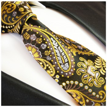Yellow mens tie paisley necktie - silk tie and pocket square and cufflinks