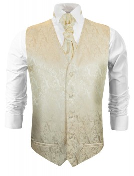 Champagner wedding tuxedo vest with ascot tie v26