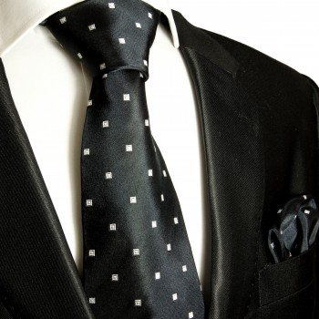 Necktie Set 2pcs. Black White Dots 100% Silk Mens Tie + Handkerchief 523