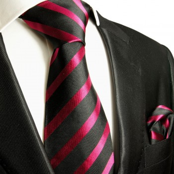 Necktie Set 2pcs. Black Pink Striped 100% Silk Mens Tie + Handkerchief 463