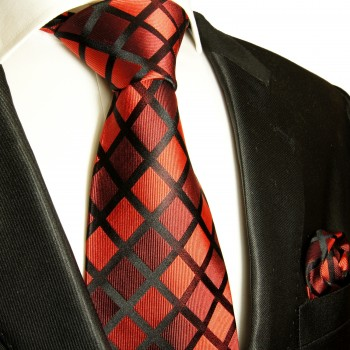 Necktie Set 2pcs. Red Black Checked 100% Silk Mens Tie + Handkerchief 481