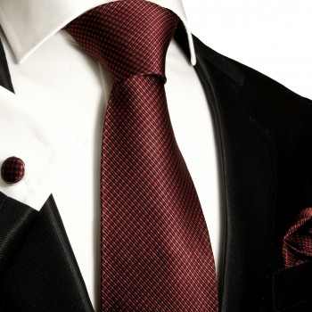 Black red Necktie Set 3pcs. 100% Silk Mens Tie + Pocket Square + Cufflinks 450