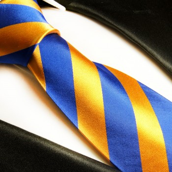 Blue orange mens tie striped necktie - silk tie and pocket square and cufflinks