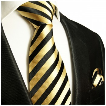 Black gold striped mens tie Set 2pcs. silk necktie + pocket square 880