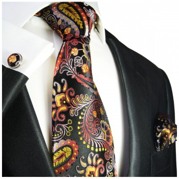 Black red yellow paisley mens tie Set 3pcs. silk necktie + pocket square + cufflinks 553