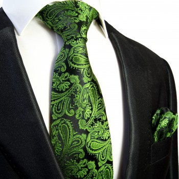Necktie Set 2pcs. green black wedding 100% Silk Mens Tie + Handkerchief 509