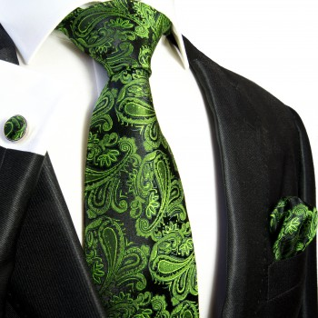 green paisley mens tie Set 3pcs. silk necktie + pocket square + cufflinks 509