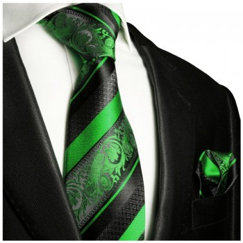Necktie Set 2pcs. green black wedding 100% Silk Mens Tie + Handkerchief 494