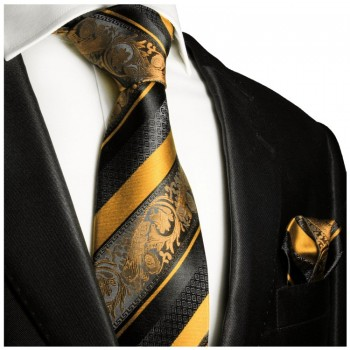 Necktie Set 2pcs. gold black wedding 100% Silk Mens Tie + Handkerchief 495