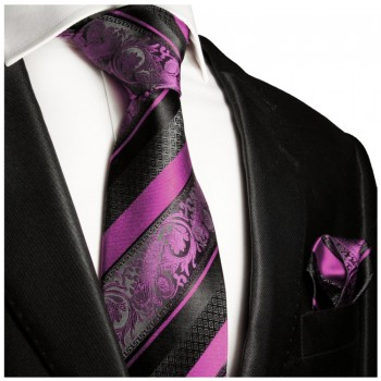 Necktie Set 2pcs. pink black wedding 100% Silk Mens Tie + Handkerchief 497