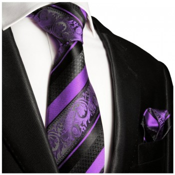 Necktie Set 2pcs. purple black wedding 100% Silk Mens Tie + Handkerchief 498