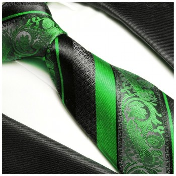 Green tie baroque striped necktie - silk mens tie and pocket square and cufflinks