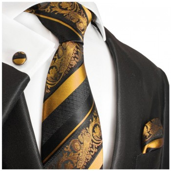 gold black mens tie Set 3pcs. silk necktie + pocket square + cufflinks 495
