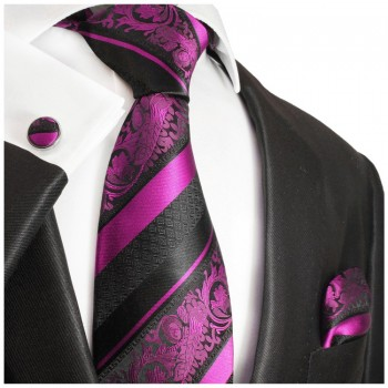 pink black mens tie Set 3pcs. silk necktie + pocket square + cufflinks 497