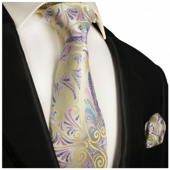 Necktie Set 2pcs. yellow pink floral wedding 100% Silk Mens Tie + Handkerchief 489
