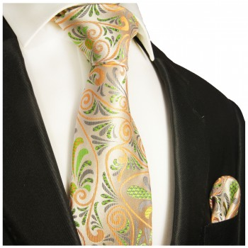 Necktie Set 2pcs. orange green floral wedding 100% Silk Mens Tie + Handkerchief 490