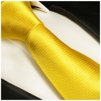 Yellow necktie 100% silk mens tie solid 987