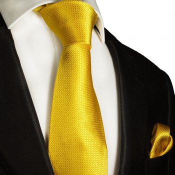 Necktie Set 2pcs. yellow wedding 100% Silk Mens Tie + Handkerchief 987