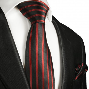 Necktie Set 2pcs. red black striped wedding 100% Silk Mens Tie + Handkerchief 988