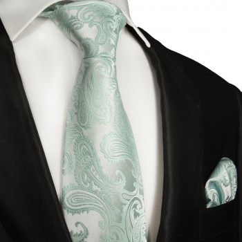 Necktie Set 2pcs. blue paisley wedding 100% Silk Mens Tie + Handkerchief 989
