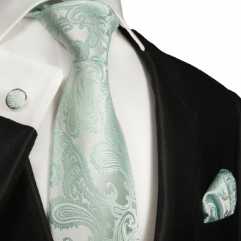 Turquoise mens tie paisley necktie - silk tie and pocket square and cufflinks