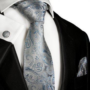 Blue paisley mens tie Set 3pcs. silk necktie + pocket square + cufflinks 2000