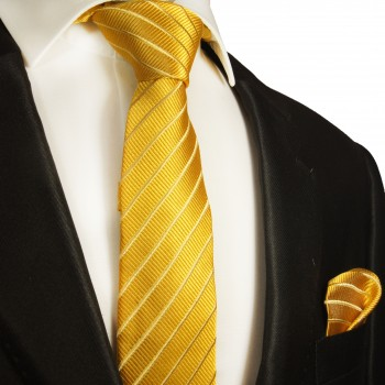 Necktie Set 2pcs. skinny gold striped wedding 100% Silk Mens Tie + Handkerchief 940-schmal