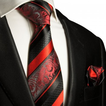 Silk Necktie Set 2pcs. Tie + Handkerchief black red 383