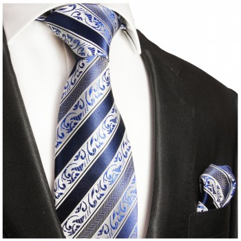Silk Necktie Set 2pcs. mens tie and pocket square blue white 855